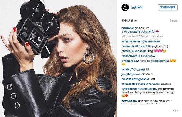 Tendances Instagram Gigi Hadid
