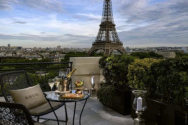tendances luxe terrasse champagne hôtel Krug Shangri-la
