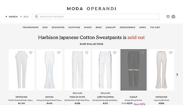 Rupture de stock chez Moda Operandi.