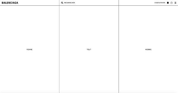 La page d'accueil de Balenciaga.