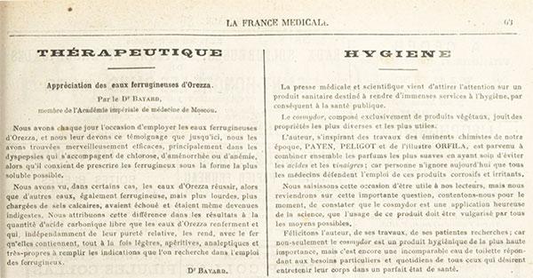 Le premier article sur Cosmydor dans «La France médicale» en 1877.